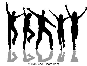 Happy people - A people group jumping for happiness