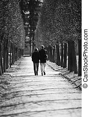 Pair in park - The man and the woman walk in park, bw