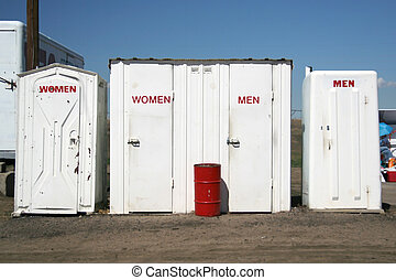 Restrooms - Men and Women\\\'s Restrooms at a race track in...