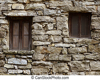 Stone Wall - Abandoned house - Stone wall with two windows