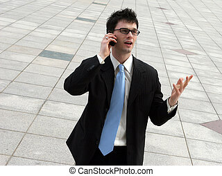 Trying to seal the deal. - Businessman argues on the phone...