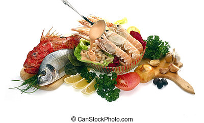 SeaFood - Raw shrimps, fish and vegetables