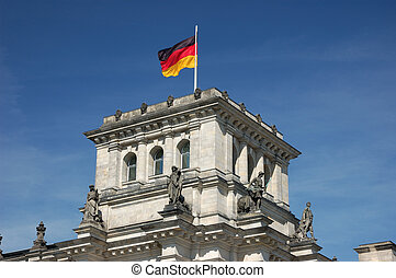 German National Flag - German national flag on the top of...