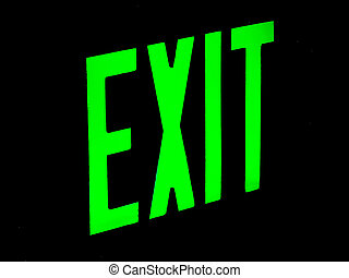 Egress in Green - Exit sign glowing in bright neon green