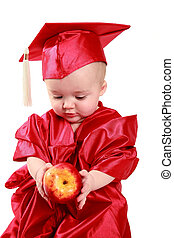 scholar baby - adorable baby in a red cap and gown.