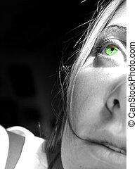 Green Envious Eye - BW image of womans face green eye...