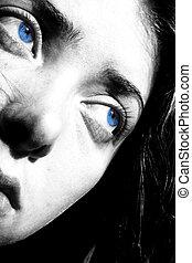 azul, ojos, triste
