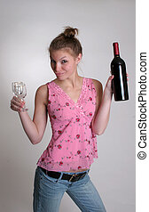 Woman with Wine - A woman with a bottle of wine and two wine...