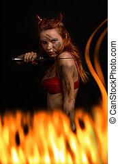 escuro, vermelho, diabo, menina, faca, fogo