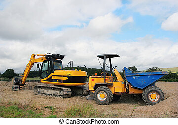 Digger and Dumper Truck - Digger and dumper truck standing...