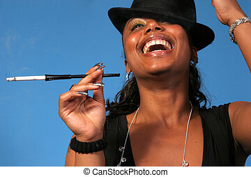 Classy Woman - Beautiful African American woman laughing and...