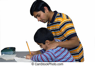 Councelling - A dad coaching his kid to do the homework