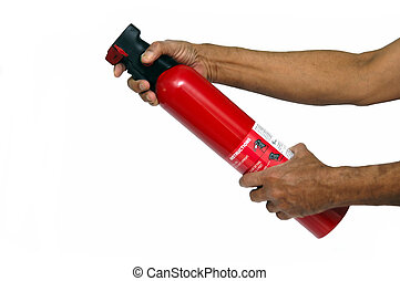 Fire Extinguisher - A Red fire extinguisher isolated on...