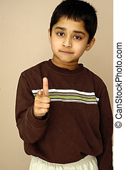 Pointing at You - A young kid pointing fingers at you