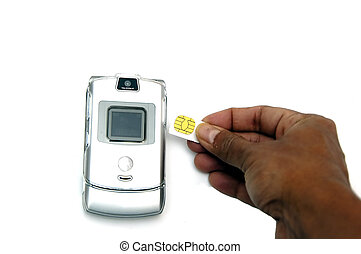 Cell phone and Sim Card - A Cell phone and sim card isolated...