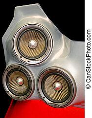 Tree speakers - Tree very loud speakers with carbon membrane