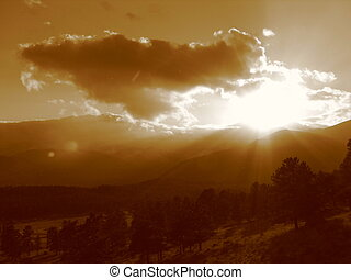 Rocky Mountain Sunset - The sun setting behind the mountains...