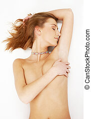 demure - picture of dreamy girl with collar on her neck