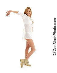 happy girl in white dress and boots - picture of happy girl...