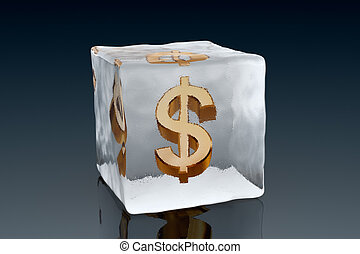 Frozen Dollar - A golden Dollar symbol frozen inside an ice...