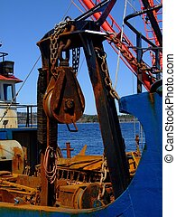 Scallop Dragger 1 - Lifting block on side dragger