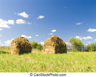Two haystacks