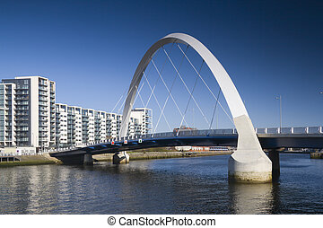 glasgow arc - The supporting arch of the Clyde Arc bridge in...