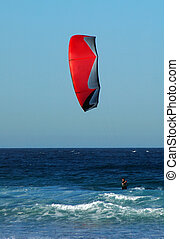 kite surfing in ocean, photo taken at Maroubra Beach in...