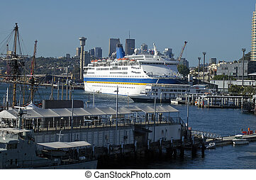 big boat in harbour - big passenger boat anchoring in...