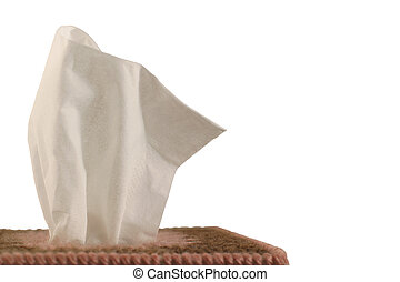 Tissue Box - white background - Close-up of paper...