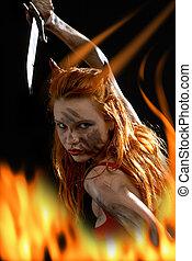 vermelho, diabo, menina, faca, fogo