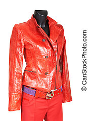 Red a jacket and trousers on a white background