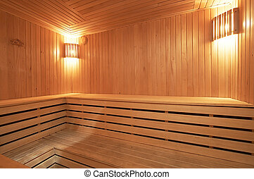 sauna - New and wooden sauna in modern hotel