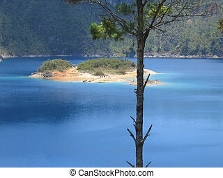 ilha, atrás de, árvore, lagoa, Lagunas, Montebello, México