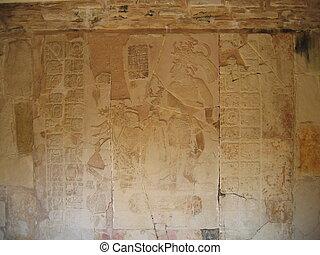 MAYA, indianas, esculpindo, Palenque, México