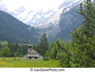 Detail of a swiss church in the Alps , Switzerland