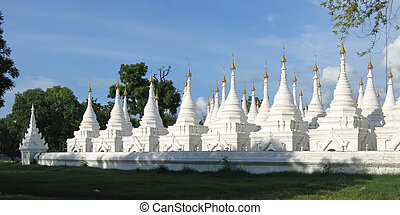 Kuthodaw temple , Mandalay , Myanmar , Panorama - Kuthodaw...