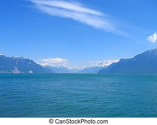 Leman Lake with snowed Alps mountains, Switzerland - Leman...