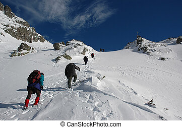 Alpinists - A team climbing a high mountain