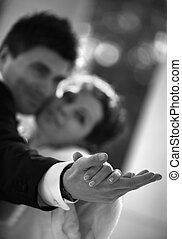 Newly-married couple - Dance of a newly-married couple Hands...