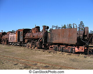 Narrow-gauge locomotive - The museum old rusty narrow-gauge...