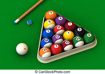 Billiard set on green - Racked pool balls, a cue stick and a...