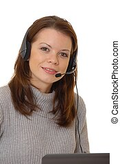 Helpdesk Girl 409 - Lovely brunette woman working at help...