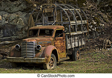 old truck 1 - rusting dilapidated truck seen from the...