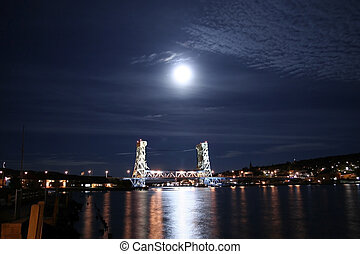 Vertical Lift Bridge - Houghton and Hancock bridge in moon...