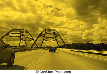 Highway And Bridge - High way and bridge on a cloudy day