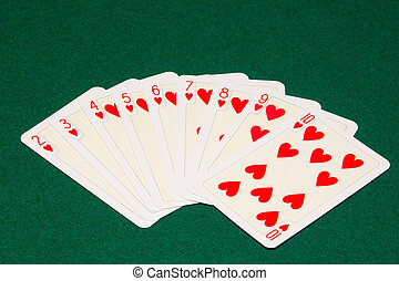 hearts - the hearts playing cards on green cloth