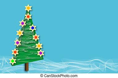 Christmas tree snow blue copyspace