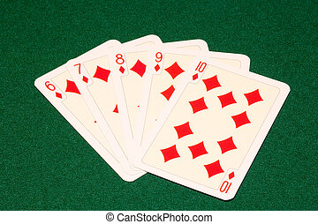 straight flush - the straight flush combination on green...