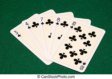 five clubs - the five clubs playing cards on green cloth